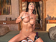 Wild, busty babes in horny, strap-on, lesbian sex action