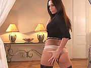 Brunette hot Mari strips wild in her tempting way to tease