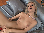 Blonde cutie Bunny fucking her pussy with a vibrating toy