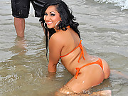 Cutie kimberly was skatng down the sidewalk at the beach her hot sexy latin body is money