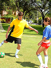 Super hot fucking soccer babes get their booty shorts pussys rammed hard in these hot 3some fuck pics and big movie