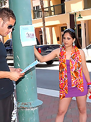 Hot ass little brunette latina gets her ass picked up on the street while working then rides a hard cock in these hot reality cum faced pics