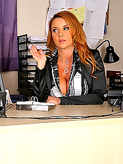 She has huge fucking tits and an ass that requires lots of attention watch her pussy get fucked her all over her paperwork on her desk