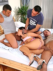 Super hot ass euro babe linda takes 3 cocks in her ass mouth and  pussy in these hot double penetration gang bang sex pics