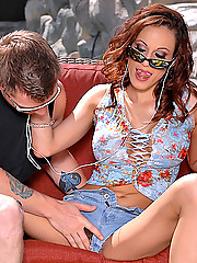 Layla was on her chair outside masturbating and  she bribed him with her sweet hot hairy pussy and he had to give in an licked till she was satisfied