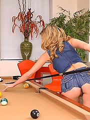 Super hot ass mini skirt babe nicole ray gets her amazing pussy fucked hard after bending over the pool table in these hot pics