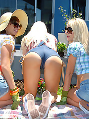 Smoking hot lesbian girls gardening in the backyard watch them go back home and fuck adn suck each others pussy
