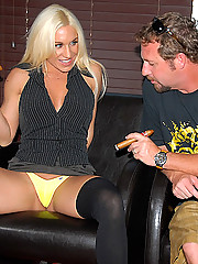 Super hot ass blonde get nailed in a cigar shop after a few drink and smokes