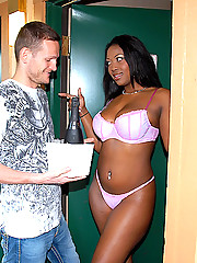 Banging big booty ebony babe gets nailed hard by the room service in these hot pics