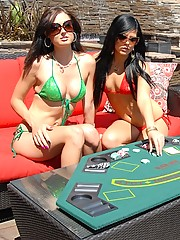 Sexy lesbian girls playing poker by the pool watch as the stakes get higher and they get horny sexy lesbian pussy licking action