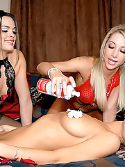 Nikki gets a surprise valentines dildo fuck by her hot lesbian roommates in these hot lingerie stripping and pussy fuck pics