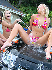 4 amazing hot bikini babes get wet and horny washing their cars then get their hot boxes pounded hard in these steamy wet dildo fucking pics and big 3 minute movie