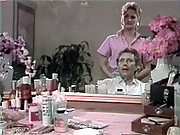Retro barber chick fucked and jizzed on face