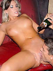 Hot girls getting down and crazy in the vip section of a club see them here