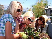 Three hot girls are gardening they go inside and things hot hot in the room they start going down on each other