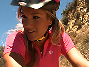 Teen blonde gets disgraced and tied to her mountain bike!