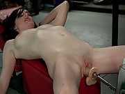 Brand new girl machine fucked, cums quick and hard