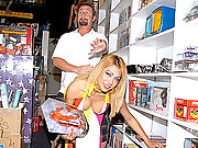 Super hot babe gets fucked hard in the comic store after getting horny with a customer in these 4 vids