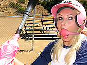 Teen blonde softball players get fucked hard and tied up!