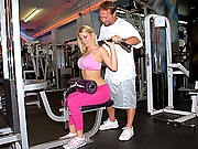 Watch this hot ass big tits milf get trained in the gym then fucked on the bench in her ass in these hot vids