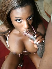 Curvy ebony Milan fucks a couple gangsters