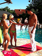 Amazing bikini babes get wet and horny in this full on group sex pool party video and pics