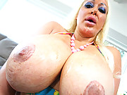 This huge boobed slut takes it in the mouth the pussy and between the tits before getting a load in the face!