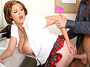 Horny school girl gets slammed by her teacher