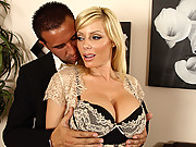 Sexy blonde with big tits sucks a mean cock