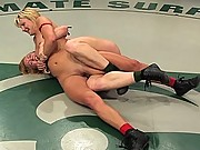 2 hot strong girls catfight to see who gets fucked.