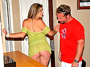 Check out this stacked milf get fucked by the lawn maintenance man after answering the door in a short dress