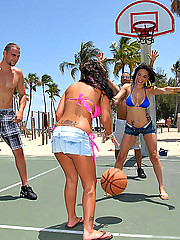 Unbelievable bikini babes playing bball get invited to the pool to fuck and swap cocks in these hot group sex wet vids