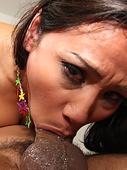 Hot Asian dick sucker takes fat cock all the way down her throat