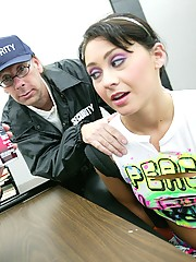 Teen tagger slut gets banged by old security guards!