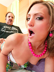Hot whore opens her young pussy for Ron Jeremy
