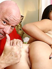 Nasty brunette whore gets lesson at the golf course by a dirty old man