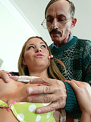 Young student gets home schooled by rock hard old man cock