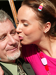 Girl gets her old man hard and gets showered by his gifts