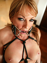 Hot MILF cunt is gagged, tied up, and pounded!