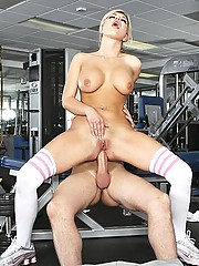 Andi loves working out her tits with a huge cock between them