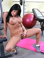 Tory Lane wants her titties to grow in size so training in a male gym is the way to go