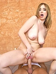 Busty gymnist fucking a hard dick man who loves her breasts