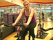 Alison Angel flashes at the gym