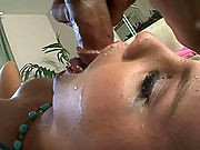 Blonde slut Michelle gets her throat shafted with big cock!