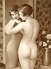 Several vintage ladies showing their nude natural bodies
