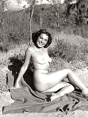 Several vintage girls showing it all on the naked beach