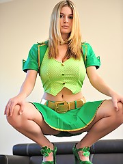 Danielle poses in her sexy green outfit