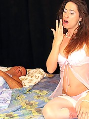 Brunette stocking slut gets fucked while being passed out