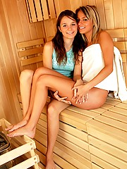 Two sauna chicks love to get wet and wild together in sauna