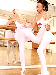 Two dirty teenage ballerinas having a good time in the gym